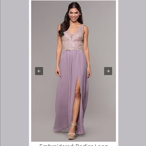 Lavender Prom Dress w/ Gold Embroidery Open Back